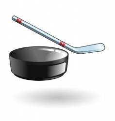 hockey stick and puck illustration vector image