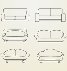Icon set of Sofas Thin line style vector image vector image