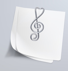 Paper clip treble clef vector image
