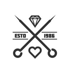 tattoo master studio salon needle heart vector image vector image
