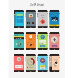 Flat Ui or UX mobile apps kit vector image vector image