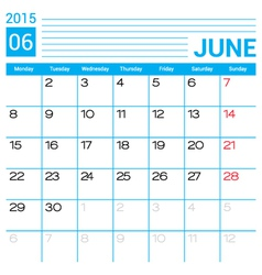 June 2015 calendar page template vector image