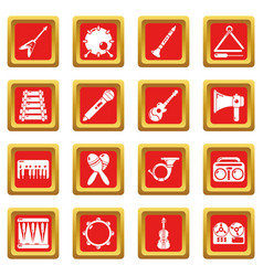 musical instruments icons set red square vector image