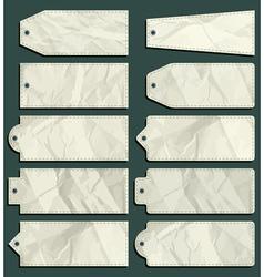 ten crumple labels over green background vector image
