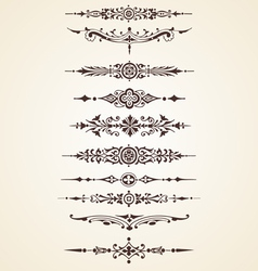 Vintage decorative ornaments text dividers set vector image vector image