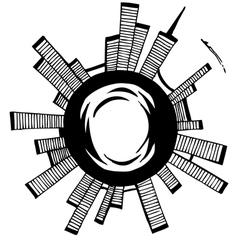 City Black outline sketch vector image