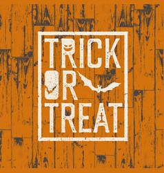 happy halloween logotype on orange colored wooden vector image