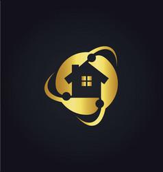 home circle protect technology gold logo vector image vector image