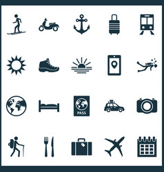 Journey icons set includes icons such as bag vector