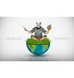 man with the head of a cat and paints vector image