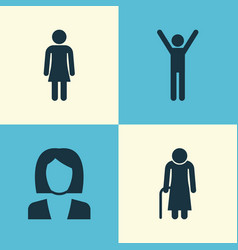 people icons set collection of old woman female vector image vector image