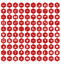 100 water recreation icons hexagon red vector