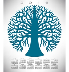 2016 round blue tree calendar vector