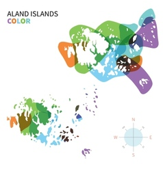 Abstract colored map of Aland Islands vector image