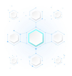 abstract molecules with hexagon paper vector image