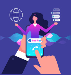 Assistant app hotline customer service internet vector