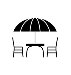 beach table and chairs black icon sign on vector image