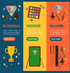 billiard game equipment banner vecrtical set vector image vector image