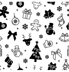 black and white new year seamless pattern vector image
