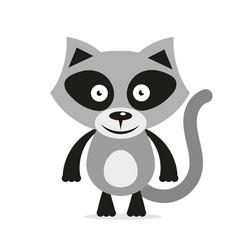 Black white raccoon head logo and icon clip art vector
