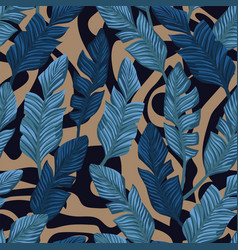 Blue banana leaves seamless abstract background vector