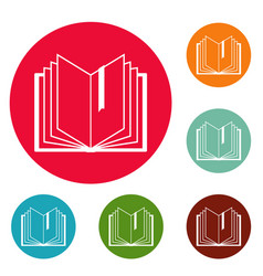 Book bookmark icons circle set vector