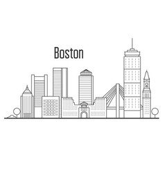 Boston city skyline - downtown cityscape vector
