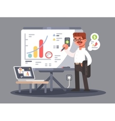 Business analyst shows presentation vector
