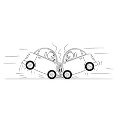 cartoon drawing of two cars crash accident vector image