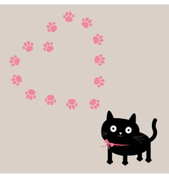 Cat and paw print heart frame template Flat design vector