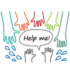 child hand lines symboll rescue help support vector image