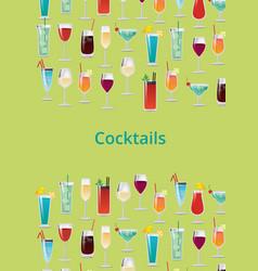 cocktail set color poster vector image