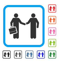 contract handshake meeting framed icon vector image