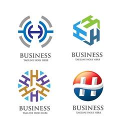 creative letter H logo set vector image