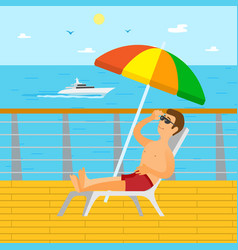 cruise liner and yacht sunbathing man vector image