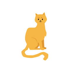 cute cat or kitten cartoon character icon flat vector image