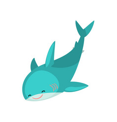 Cute friendly blue shark cartoon character vector