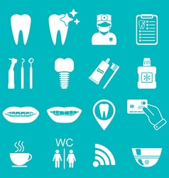 Dental icons Silhouette White color vector
