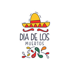 dia de los muertos logo traditional day of the vector image