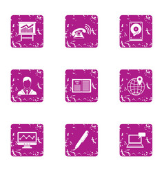dial of money icons set grunge style vector image