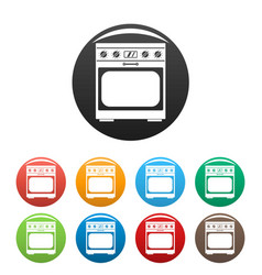 Domestic gas oven icons set color vector