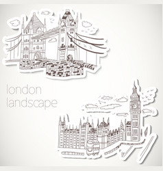 drawn landscape in vintage style vector image