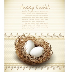 easter vintage background with a nest and eggs vector image