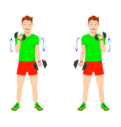 Exercise at home young handsome guy doing vector