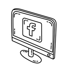 facebook icon doodle hand drawn or outline icon vector image