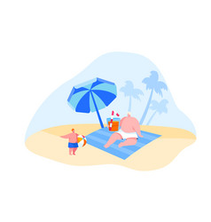 family characters spend summer vacation on vector image
