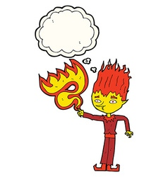 fire spirit cartoon with thought bubble vector image