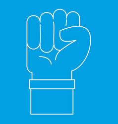 Fist icon outline style vector