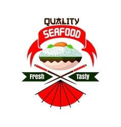 Fresh and tasty Japanese seafood restaurant icon vector
