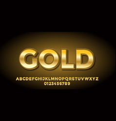 Gold color clean 3d font style design templates vector